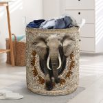 bamboo elephant all over printed laundry basket