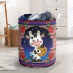 cow floral all over printed laundry basket
