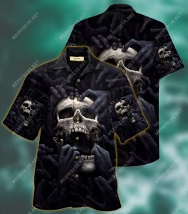 dark skull scream all over printed hawaiian shirt