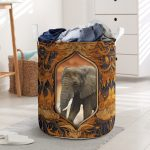 elephant all over printed laundry basket