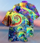 hippie turtles waves all over printed hawaiian shirt
