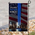 september 11th 2001 we will never forget all over print flag
