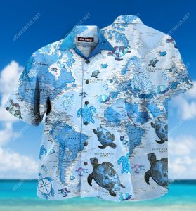 turtle sea map all over printed hawaiian shirt