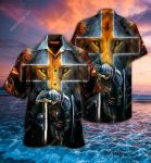 warrior of christ cross lion all over printed hawaiian shirt
