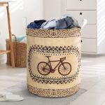wood bicycle all over printed laundry basket