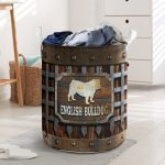 wood english bull dog all over printed laundry basket