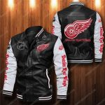 Detroit red wings all over print leather bomber jacket 1
