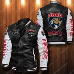Florida panthers all over print leather bomber jacket 1