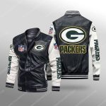 Green bay packers all over print leather bomber jacket 1