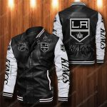 Los angeles kings all over print leather bomber jacket 1