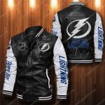 Tampa bay lightning all over print leather bomber jacket 1