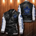 Toronto maple leafs all over print leather bomber jacket 1
