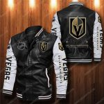 Vegas golden knights all over print leather bomber jacket 1