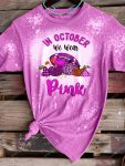 Breast cancer awareness in october we wear pink football and pumpkin bleached shirt 1