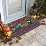 Custom halloween for witch teacher a beautiful witch teaches here with her little monsters doormat 1