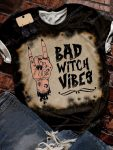Halloween night bad witch vibes bleached shirt 1
