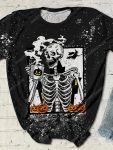 Halloween skull and coffee bleached shirt 1